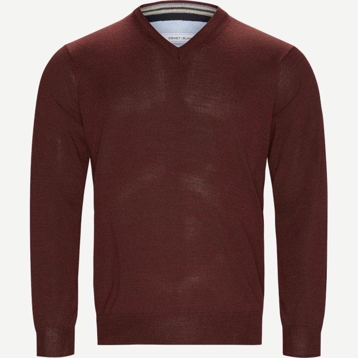 Smaralda V-Neck Striktrøje - Strik - Regular - Bordeaux